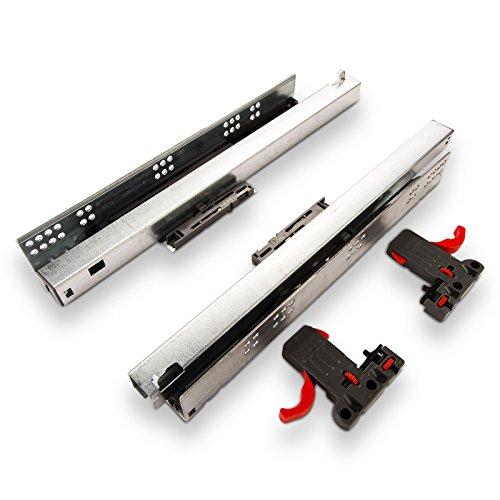 1 Paar SO-TECH® Smart Slide Vollauszüge 400 mm mit Push-Open u. Soft-Close für Holzschublade