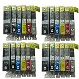 24 Druckerpatronen für Canon Pixma MG6150 MG6250 MG8150 MG8250 MG 6100 6150 6200 6250 8100 8150 8200 8250 (kompatible Druckerpatronen) Sie bekommen 4 x 525BK / 4 x 526BK / 4 x 525C / 4 x 525M / 4 x 525Y / 4 x 526GY grau
