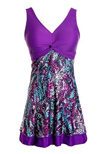 Ecupper Damen Badekleid Gepolstert Badeanzug mit Shorts Einteiler Blumen Muster Schwimmkleid Große Größen Violett XXL