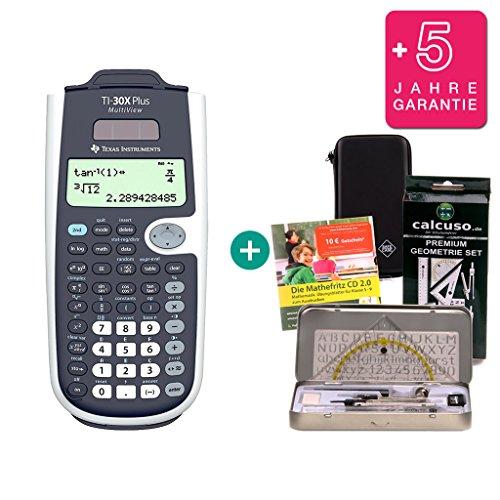Texas Instruments Streberpaket: TI-30 X Plus MultiView + Schutztasche + Lern-CD (auf Deutsch) + Geometrie-Set + Erweiterte Garantie