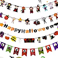 LOKIPA Halloween Party Decorations Banner Garland, 5Pcs Happy Halloween Castle Bat Ghost Witches Pennants Halloween Indoor Outdoor Party Decoration Bunting banner