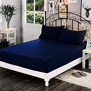 """Dream CareTM Waterproof Dustproof Terry Cotton Mattress Protector for King Size Bed - 78""""x72"""", NavyBlue"""