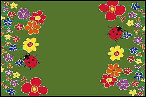 Fußmatte, Schmutzfangmatte 90 x 60 cm, wash + dry, Blumenwiese grün Käfer
