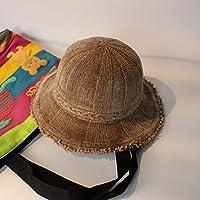 Hat Sombrero Caliente Pescador del Color Sólido del Otoño E del Invierno, Gorra Salvaje Casual Femenina, Sombrero Plegable Plegable del Viaje,Caqui,Un tamaño