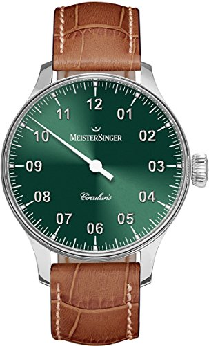 Meistersinger Circularis CC309 - Reloj mecánico Manual de Viento para Hombre, Esfera Negra analógica de 43 mm con Cristal de Zafiro