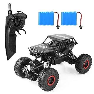 Aandyou Ferngesteuertes Auto,RC Auto 1:18, High Speed RC Off Road Auto, 2.4 GHz 4WD Monstertruck für Kinder (Schwarz)
