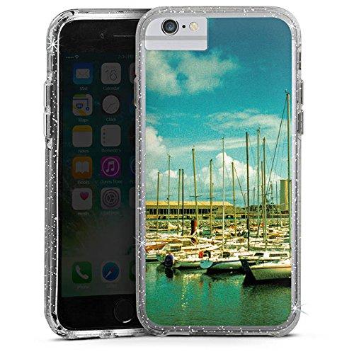 Apple iPhone 8 Bumper Hülle Bumper Case Glitzer Hülle Hafen Boote Schiffe Bumper Case Glitzer silber