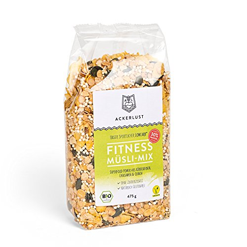 Ackerlust Bio kohlenhydratreduziertes Lower Carb* Fitness Müsli - glutenfrei, ohne Zucker/zuckerfrei - (5 x 475g) - 30% Protein