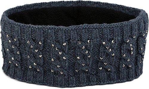 nd mit Zopfmuster und Strass, weiches Fleece Innenfutter, Haarband, Headband, Damen 04026001, Farbe:Blau (Stirnband Mädchen)
