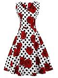 FAIRY COUPLE 50er V-Ausschnitt Rockabilly Polka Blumen Jahrgang Kleid Cocktail DRT072(3XL,Weiße rote Blumen-Punkte)