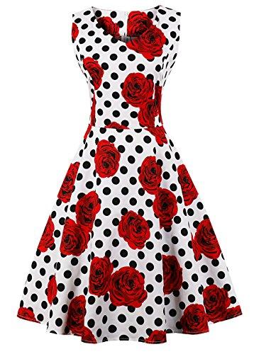 FAIRY COUPLE 50er V-Ausschnitt Rockabilly Polka Blumen Jahrgang Kleid Cocktail DRT072(L,Weiße rote Blumen-Punkte)