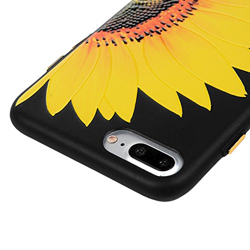 iPhone 7 Plus Case iPhone 7 Plus Handyhülle YOKIRIN Premium Relief Flexible TPU Silikon Case Schutzhülle Cover Handytasche Etui Handycase Slim Fit Rutschfest Kratzfest Silikonhülle Winde Sonnenblume
