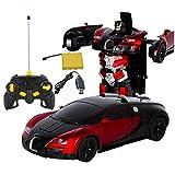 HoneybeeLY Transformers Remote Control Car, 1: 12Remote Control Car Robot Transform Bugatti Rambo–One Touch Transform, Ricaricabile radiocomandato RC Auto, Blu, Rosso Red Bugatti