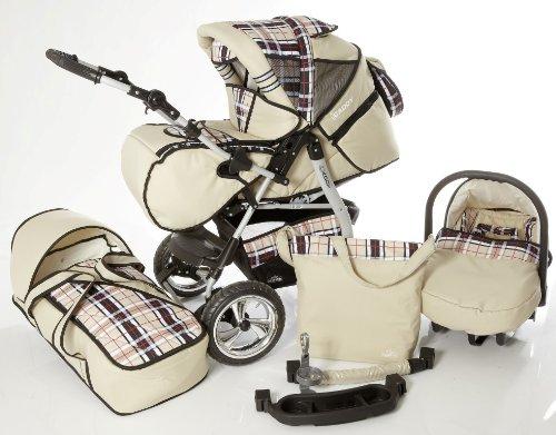 Chilly Kids iCaddy Kinderwagen Komplettset (Autositz, Regenschutz, Moskitonetz, Getränketablett, Wickelunterlage) 14 Beige & Karo