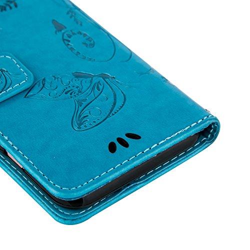iPhone Case Cover Papillon fleurs en relief cas PU cuir Flip Stand cas magnétique portefeuille affaire avec la main dragonne carte fentes pour iPhone 5S 5 SE ( Color : Gray , Size : IPhone 5S SE ) Blue