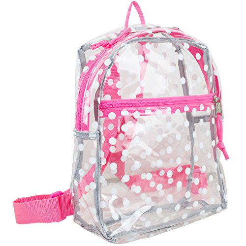 parenter Klarer Mini Rucksack Mit Verstellbaren TrägernGepolsterten Trägern (Klar/Rosa ganze Punkte) (Klar Rucksäcke Pink)