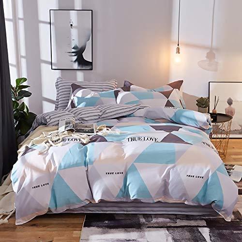 DAMAI STORE Bequem Multi-Größe Einfache Geometrische Muster Hoher Dichte 100% Baumwolle Bettwäsche Vierteilige Kissenbezug Bettbezug Bettwäsche Dreiteilig Weich (Farbe : Blue, Size : 160 * 210cm)