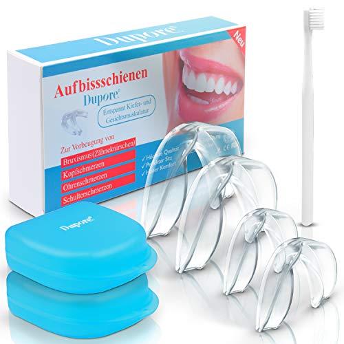 Dupore ® Aufbissschienen Set - (4 Stk) - Für ein Leben ohne Zähneknirschen - Zertifizierte Zahnschienen + GRATIS Ebook - Aufbewahrungsbox - Zahnbürste + Zufriedenheitsgarantie