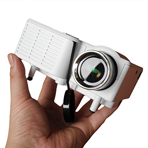 1800 Lumens Beamer, Mini Beamer Tragbare Projektor Heimkino Film Video Beamer Unterstützt 1080P Multimedia HDMI USB TF VGA AV für Heimkino Spiele Film PC Laptop PS4 XBOX Smartphone. (Weiß)