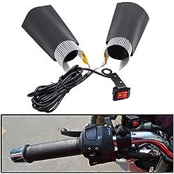 Gazechimp 1 par Eléctricos Calefactables Puños de Manillar con Interruptor Cojines de Almohadillas para ATV Escúter Moto
