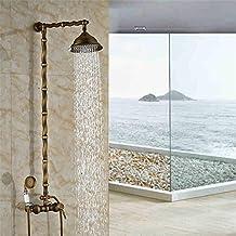"""Cuarto de baño columna de ducha de pared sola manija latón 8""""Cabeza de ducha efecto lluvia ducha grifo mezclador de ducha de mano alimentación"""