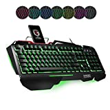 EMPIRE GAMING CLAVIER LED GAMER EMPIRE K1600 CHASSIS METALLIQUE NOIR EQUIPE DE 105 TOUCHES SEMI-MECANIQUE DONT 26 TOUCHES ANTI-GHOSTING / REPOSE POIGNET SILICONE XL / 11 RACCOURCIS MULTIMEDIA / RETRO-ECLAIRAGE LED 7 COULEURS : BLEU - VERT - ROUGE- TURQUOISE - JAUNE - VIOLET- BLANC, LUMINOSITE REGLABLE / MODE GAMING AVEC TOUCHE WINDOWS DESACTIVABLE