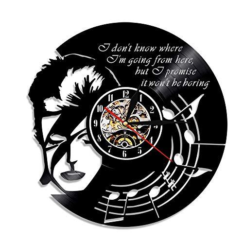 upnanren Rekordwanduhr kreatives Retro David Bowie Vinyl Vinyl Vinyl einfache dekorative Wohnzimmer Rekord Kinder Schlafzimmer