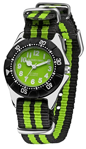 Jacques Farel Stripes Kinderuhr schwarz/grn KWD122