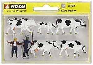 Noch - 15724 - Modélisme Ferroviaire - Gardien Et Troupeau De Vaches - 2 Figurines + 5 Vaches
