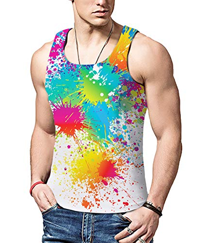 b2c92e92ff8 ALISISTER Mens 3D Printed Graffiti Vest Tank Tops Cool Casual Summer Round  Neck Vest Shirts for
