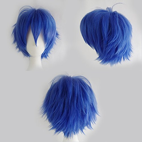 S-noilite Cosplay Curly Hair Tail Full wigs Short Dark Blue Wig Fashion Cosplay Style Women/Men Wig by S-noilite