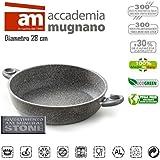 MWS1407 - Cazuela con 2 mangos 28 cm antiadherente y revestimiento con efecto piedra revestimiento - Accademia Mugnano CUORE DI PIETRA