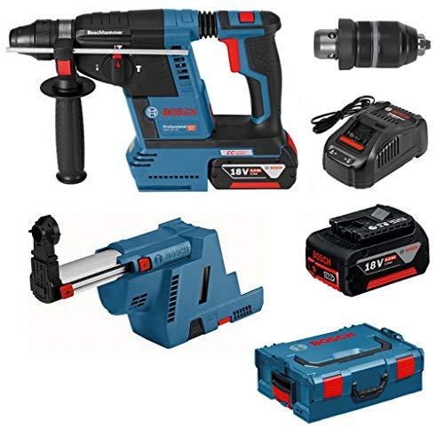 Bosch Akku-Bohrhammer GBH 18V-26F 2x5,0Ah + L-Boxx + Absaugung GDE18V-16