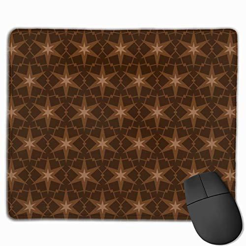 Brown Star Patch Pattern Rutschfeste einzigartige Designs Gaming Mouse Pad Schwarzes Tuch Rechteck Mousepad Kunst Naturkautschuk Mauspad mit genähten Kanten 25x30 cm