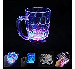 A To Z Traders, LED Magic Glass Beer Mug - 350 ML & Free Hand Shape LED Keychain (Pack of 1)