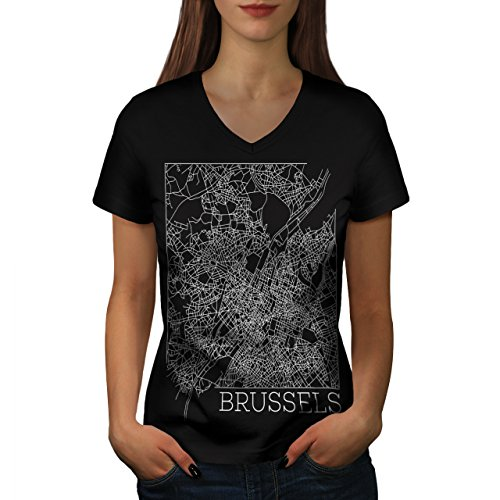 belgium-brussels-map-big-town-women-new-black-m-v-neck-t-shirt-wellcoda