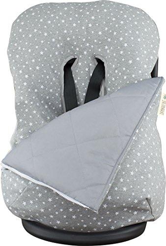 Janabebe - copertina invernale per il bebè, universale per ovetto, seggiolino auto (white star)