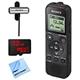 Sony PX370 Digital Voice Recorder w/ 32GB Bundle Includes, 32GB MicroSD High-Speed Memory Card, Sony Clip style Omnidirectional Stereo Microphone and 1 Piece Micro Fiber Cloth