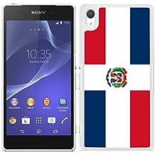 Funda carcasa para Sony Xperia M4 - M4 Aqua diseño Bandera República Dominicana borde blanco