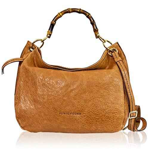 VISONÀ Plinio Damen Handtasche Extra Large Italienische Designer-Handtasche aus echtem Leder Griff Umhängetasche Hobo im Kamel-Design mit Bambusgriffen -