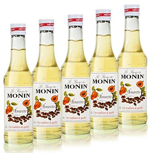 5x Monin Amaretto Sirup, 250 ml Flasche