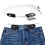 MOGOI Ceinture extensible sans boucle pour les femmes/hommes, mode respirer confortablement ceinture élastique sans renflement ou tracas pour pantalons jeans(40in-79in) (white)