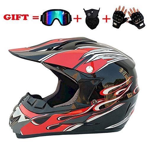 Preisvergleich Produktbild LEWWB Erwachsener Motocross Helm,  Motorradhelm Scooter ATV Helm D.O.T Zertifiziert Multicolor mit Brille Handschuhe Maske, Size:S, M, L, XL, XL