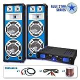 Blue Star Series PA Komplett-Set Basskern (2x Profi PA Boxen, 1000W Endstufe, Kabelset, LED-Effekt)