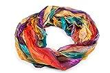 fashionchimp ® Loop Schlauchschal für Damen mit Feder-Muster in Batik Style, Crash and Crinkle, Seide, Schal (Gelb-Bunt)