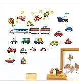 QTZJYLW Cartoon LKW Traktoren Autos Wandaufkleber Kinderzimmer Fahrzeuge Wandtattoos Kunst Poster Fototapete Wohnkultur Wandbild Aufkleber (30 × 60 cm)