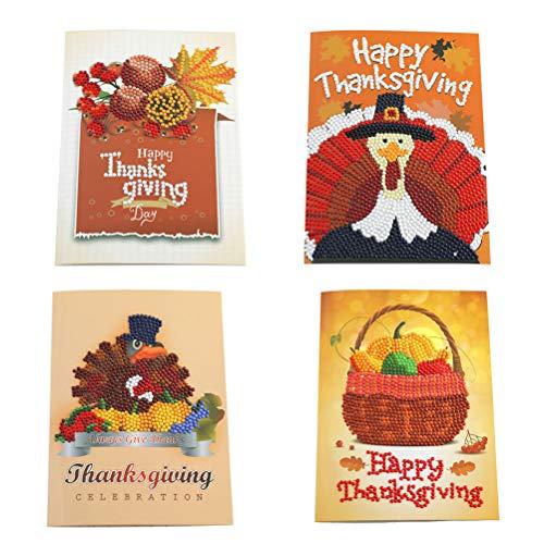 (BESTOYARD 4 stücke Happy Thanksgiving Grußkarten Türkei Kürbis Strass DIY 5D Kristall Diamant Malerei Kit)