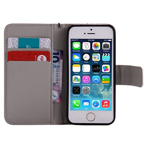 iPhone SE Hülle,iPhone 5S Case,iPhone 5 Cover - Felfy Flip Bookstyle Wallet Luxe Handyhülle Niedlich Farbe Muster mit Bling Diamant Strass Design PU Leather Stand Wallet Flip Lederhülle Case Cover Pou Weiß Leopard Cas