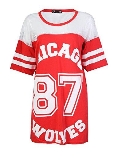 Fast Fashion - Baggy Manches Courtes Chicago 87 Loups Print Résille Top Oversize - Femmes Rouge