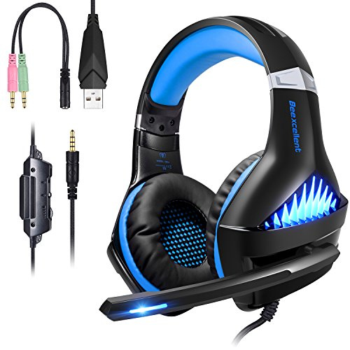 Casque Gaming PS4 PC Xbox One Switch, Samoleus Casque Gamer avec Micro LED Lampe 3.5mm Audio Contrôle du Volume, pour Xbox One, PS4, PC, Laptop, Tablette, Smartphone, Playstation 4